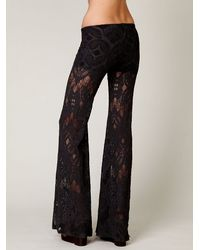 Free People - Gray Lace Bell Bottom - Lyst