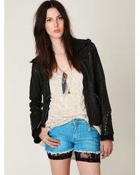 Free People - Black All Over Lace Shorts - Lyst