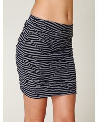 Free People - Black Striped Textured Bodycon Skirt - Lyst
