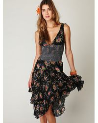 Free People - Black Into You Printed Slip Dress - Lyst