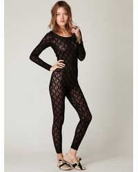 Free People Black Lace Catsuit