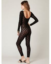Free People - Black Lace Catsuit - Lyst