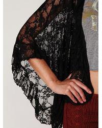 Free People | Black Lace Frill Kimono | Lyst
