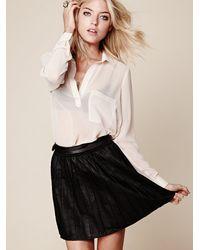 Free People - Black Vegan Leather Pleated Skirt - Lyst