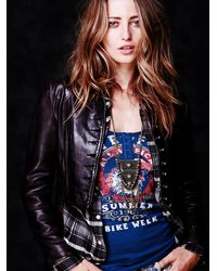 Free People | Blue We The Free Graphic Moto Tank | Lyst