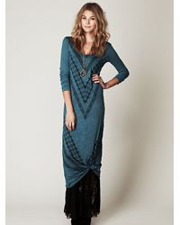 Free People | Blue We The Free Long Sleeve Graphic Maxi Dress | Lyst