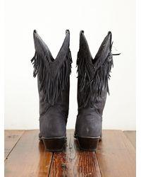 Free People | Black Vintage Fringe Cowboy Boots | Lyst