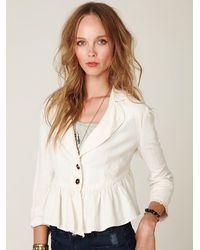 Free People | White Cropped Ruffle Peplum Jacket | Lyst