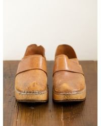 Free People | Brown Vintage Leather and Wood Clogs | Lyst
