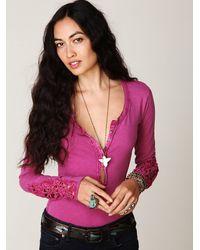 Free People - Purple Crochet Cuff Henley - Lyst