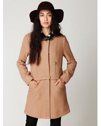Free People | Natural Convertible Wool Coat | Lyst