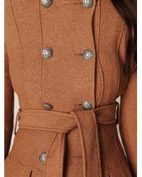 Free People - Natural Double Breasted Tie Wool Coat - Lyst
