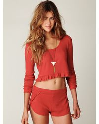 Free People - Red Thermal Love Crop Top - Lyst
