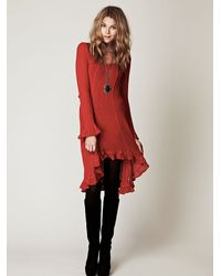 Free People | Red Waterfalls Sweater Dress | Lyst