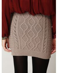 Free People | Gray Cable Knit Bodycon Sweater Skirt | Lyst