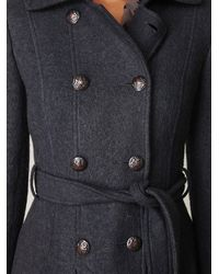 Free People - Gray Double Breasted Tie Wool Coat - Lyst