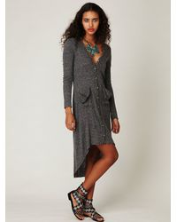 Free people Ribbed Up Maxi Cardigan in Gray | Lyst