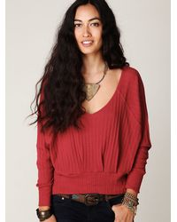 Free People | Red Long Sleeve Mod Pullover | Lyst
