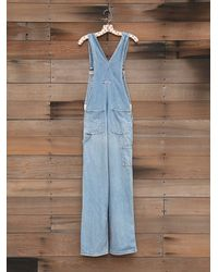 Free People | Blue Vintage Denim Overalls | Lyst
