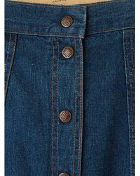 Free People - Blue Vintage Snap Front Denim Skirt - Lyst
