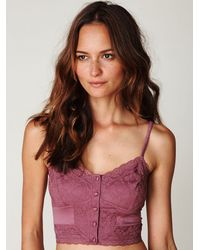 Free People | Pink Charmeuse Lace Crop Cami | Lyst