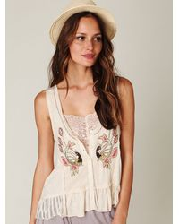 Free People | White Beaded Peacock Vest | Lyst