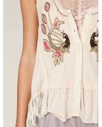 Free People - White Beaded Peacock Vest - Lyst