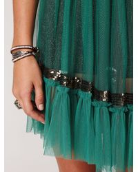 Free People | Green Fp One Sequin Smocked Slip | Lyst