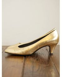 Free People | Metallic Vintage Gold Heels | Lyst