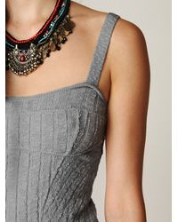 Free People | Gray Ribbed Column Sweater Dress | Lyst