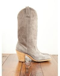 Free People   Gray Vintage Suede Cowboy Boots   Lyst
