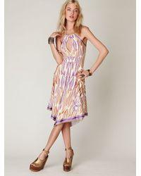 Free People | Purple Slinky Knit Printed Halter Dress | Lyst