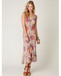 Free People - Pink Floral Lace Slip - Lyst