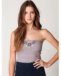 Free People - Purple Fp One Smocked Beaded Bandeau - Lyst