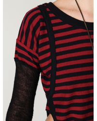 Free People - Red Bamboo Stripes Crop Top - Lyst