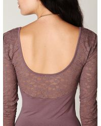Free People | Purple Long Sleeve Lace Bodycon Slip | Lyst