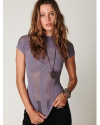 Free People - Purple Seamless Short Sleeve Mockneck Top - Lyst