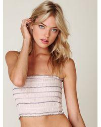 Free People - Pink Stripe Smocked Bandeau - Lyst