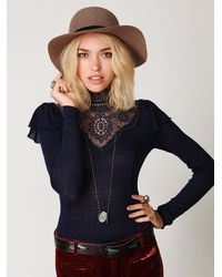 Free People | Blue Always On My Mind Top | Lyst