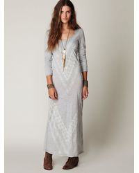 Free People | Metallic We The Free Long Sleeve Graphic Maxi Dress | Lyst