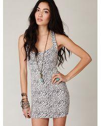 Free People   Gray Animal Knit Bodycon Dress   Lyst