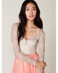 Free People | Natural Floral Burnout Henley | Lyst