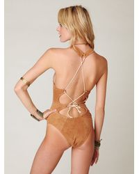 Free People - Brown Ares Suede One Piece - Lyst