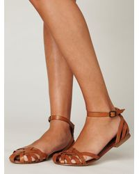 Free People | Brown Lex Leather Sandal | Lyst