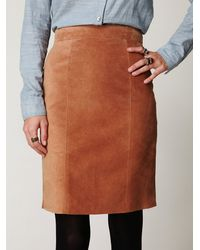 Free People - Brown Suede High Waist Pencil Skirt - Lyst