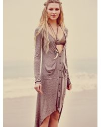Free People | Brown Ribbed Up Maxi Cardigan | Lyst