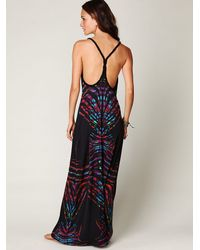Free People - Black Printed Braid Back Tank Maxi Dress - Lyst
