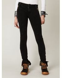 Free People - Black Seamed Knit Skinny Pants with Side Zippers - Lyst