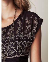 Free People - Gray Short Sleeve Eyelet Garden Day Dress - Lyst