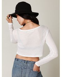 Free People   White Cropped Long Sleeve Rib Top   Lyst